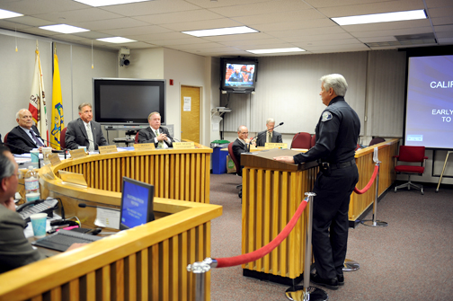 File photo Ron DePompa, shown here addressing the Glendale City Council in March 2010, is retiring from the force.