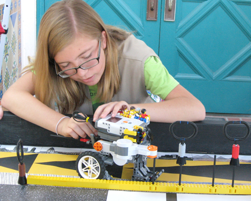 Her interest in math and engineering led Martos-Repath to her involvement in a FIRST [For Inspiration and Recognition of Science and Technology] Lego League (above in 2009).