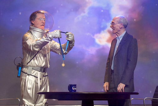 "Photo courtesy of K. Long Galactic commander and talk show host Stephen ""Tiberius"" Colbert presented Ed Stone, the project scientist of NASA's Voyager mission, with a NASA Distinguished Public Service Medal. Stone was a guest on Colbert's show on Dec. 3."