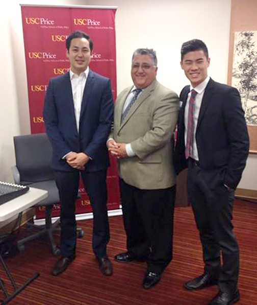Samuel Chung and Brandon Cheung with former State Assemblymember Anthony Portantino (center).