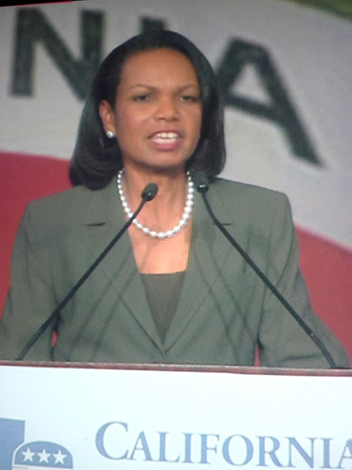 Former Secretary of State Condoleezza Rice was a voice of encouragement.
