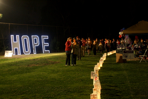 Photos by Temoc RAMIREZ Bags lined the field for the luminaria ceremony.