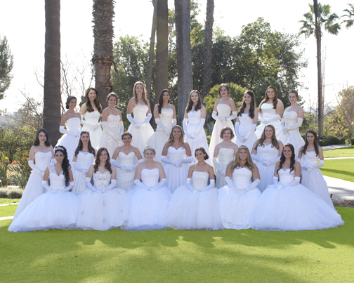 Photo by Bain Photography The Ticktockers in NCL Glendale Class of 2014 were celebrated for their years of service to the community at the Presentation Ball held at the Langham Huntington Hotel in Pasadena on March 8.  Front row, from left: Tiara Avaness, Chelsea Nicole Johnson, Elizabeth Ashley Hakes, Daisy Marilyn Beckner, Alison Laurel Roth, and Taline Christina Albarian. Middle row, from left: Carly Stiles Padilla, Andrea Freda Klein, Taylor Noor Afshar, Kendall Clark Eberhardt, Emma Louise Fuller-Monk, Margaret Frances Vischer, and Marissa Lenore Glidewell. Back row, from left: Giavonna Antoinette Futia, Amanda Lynn Johnson, Kelly Christine Berg, Michelle Emile Grochow, Madeleine Ann Cortes Impert, Camaryn Elise Del Guercio, Nora Anne Sagal, Jenna Isabelle Schwartz, Alexa Nicole Rittichier and Lauren Widuch Snyder.