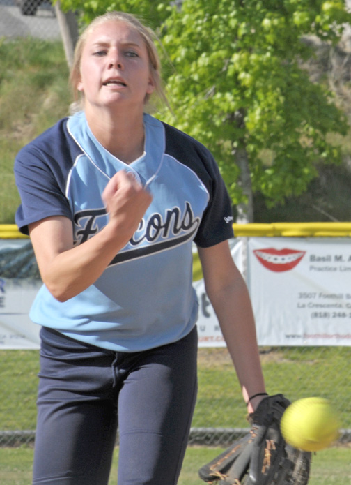 Falcons' pitcher Olivia Thayer pitched five innings for the win, striking out six and walking one.