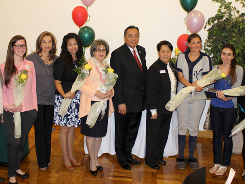 From left: Heather Abrams, Arpi Mirzayan, Rosa Raudales, Catherine Yesayan, Dr. Luis Calingo, GEM Edith M. Fuentes, Alina Scott and Sarin Mousessian.