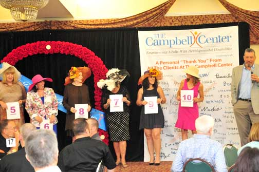 Ladies lining up for the hat contest during Derby Day.
