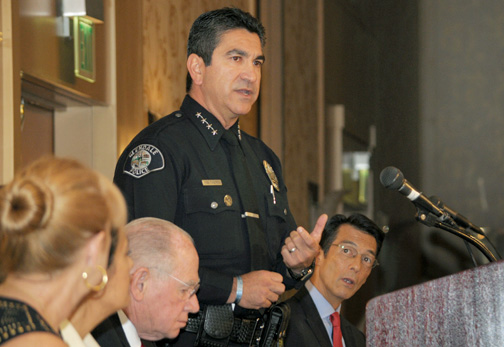 Photos by Dan HOLM GPD Chief Robert Castro gave opening remarks at the banquet.