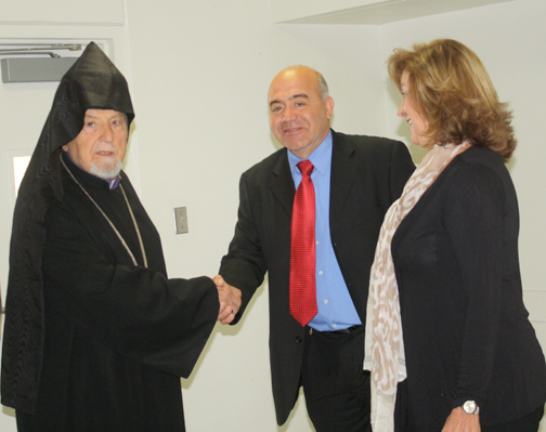 Archbishop Vatche Hovsepian is greeted by CV Town Councilmember Harry Leon and Rita Hadjimanoukian from Supervisor Michael Antonovich's office.