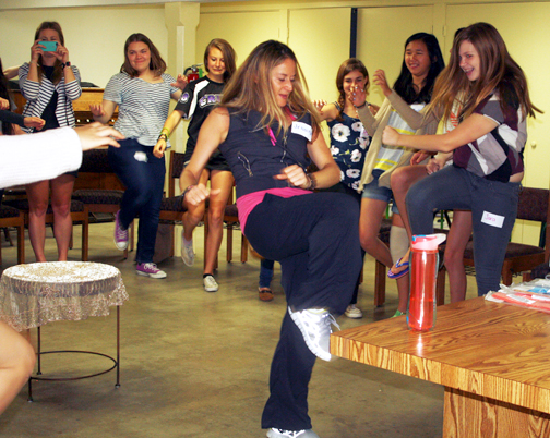 Jennifer Cassetta, the founder of the Stilettos and Self Defense Workshop, taught some key self defense moves to attendees.