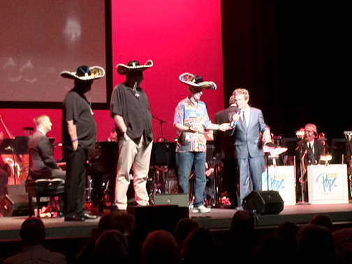 "Short welcomes his Three Amigos audience volunteers onstage to take part in ""The Ballad of the Three Amigos"""