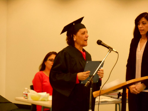 Olga Alvarado at her graduation ceremony.