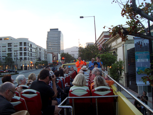 MONA board members and supporters took a neon-centered tour of the city of Glendale on Thursday aboard a double-decker bus. Tours are ongoing.