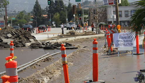 Photo by Mary O'KEEFE A water main break caused about 800,000 gallons of water to flow down Verdugo Road on Tuesday.