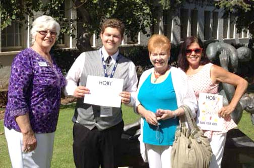 LCWC members Shirley Griffith, Gloria Lee and Sandra Virag with HOBY student Dimitrios Aguilar.