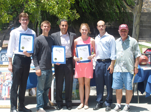 Scholarship recipients Nicholas Castellana, John Blood and Jessica Gabor with Assemblymember Mike Gatto, Matt Sharp from Tuition Magician and CVCOC President Steve Pierce.
