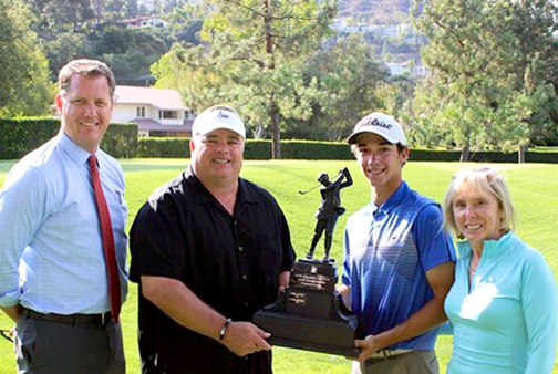 Co-chairs Kris Hons and Rick Dinger with tournament champion Vinny DePinto and Glendale Parks and Open Space Foundation President Dottie Sharkey.