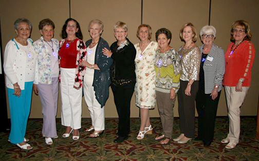 Photograph by Natalie ABRAHAMIAN From left are Alma Tycer, Rae McCormick, Mary Lo Follett, Marci Haug, Karen Millman, Carol Eldred, Roseann Case, Pat Spencer, Ann Phelps and Karin Jonke.