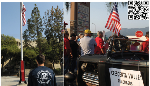 File photos LEFT: Firefighter Matthew Andrew takes a moment to reflect on Sept. 11 during the 2012 remembrance. RIGHT: Community members will again travel along the streets of the Crescenta Valley in honor of 9/11.