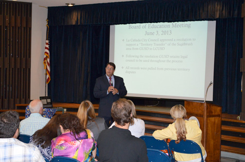 Photo by Kevork KURDOGHLIAN Dr. Richard Sheehan, superintendent of the Glendale Unified School District, addressed an audience of over 100 people at a meeting regarding the Sagebrush territory transfer.