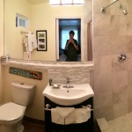 The bathroom of the Blair Estates suite at Vendange Carmel Inn and Suites.