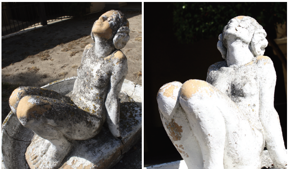 The decision on what to do with Rockhaven has been put on hold for a year as the property continues to age.  RIGHT: A 2014 picture of statue in the Rockhaven courtyard. LEFT: That same statue in 2010.