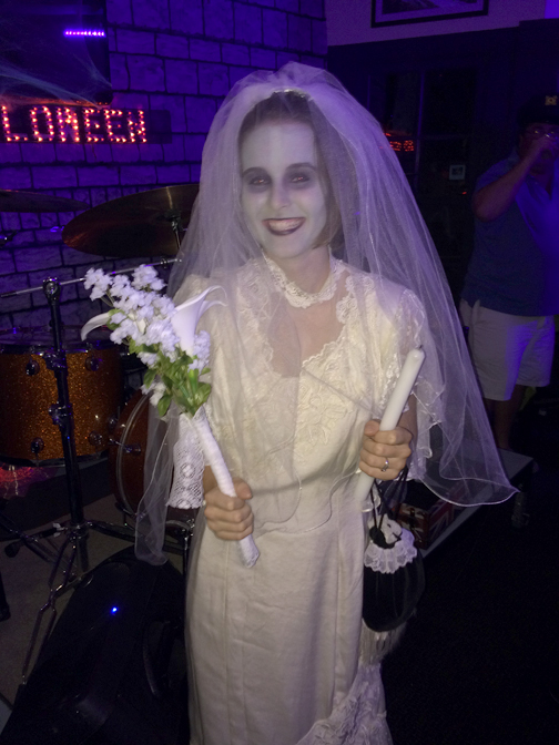 "Sabrina Walentynowicz won 'Scariest Costume' as the bride from ""The Haunted Mansion."""