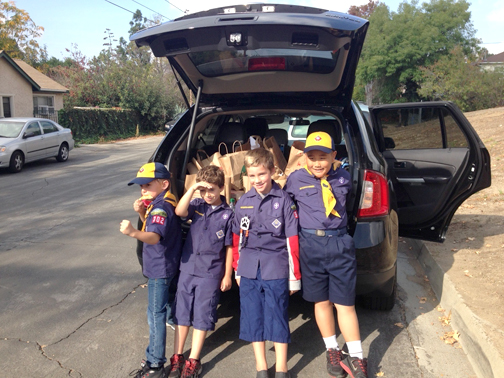 Wolf Cub Scout Den 1 – Scouts (from left) Nicholas Micozzi, Kyle Waldorf, Preston Conroy and Matthew Lee.