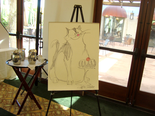 Photo by Jason KUROSU The impromptu illustration of Fuddles by creator and author Frans Vischer raised an additional $425 at the LCF Orthopaedic Guild luncheon held on Oct. 28.