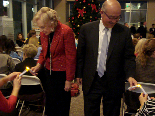 Dr. Edmund Lew and Dr. Marguerite Marsh led the lighting of the candles tribute.