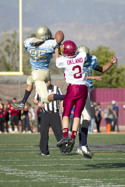 Gladiator Carson Okland breaks up pass in second half