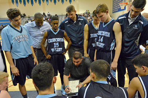 Coach Zargarian on Monday night with his team.