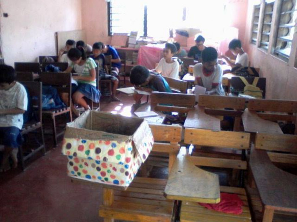 Students during the school day in a new Dalipuga Central School classroom.