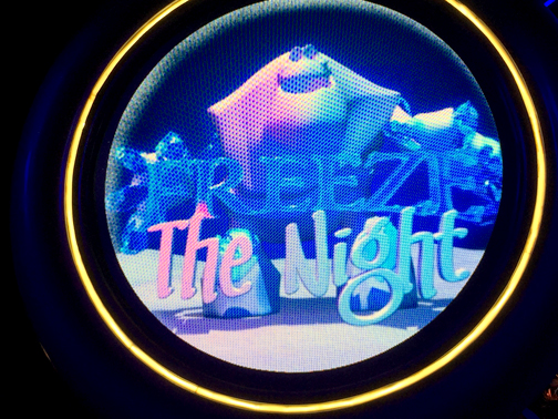 Photos by Charly SHELTON Marshmallow the snowman welcomes guests in an animated sign illuminated at night.
