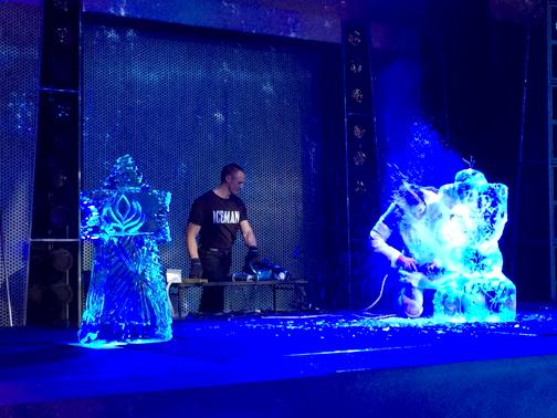 Live ice carving is just one of the many acts performing at Freeze the Night. Pictured is a finished carving of a snowflake, left, and a work in progress- Olaf the snowman.