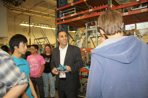 Photos by Mary O'KEEFE Assemblymember Mike Gatto talks with Falkons 589 team members on the upcoming FIRST competition.