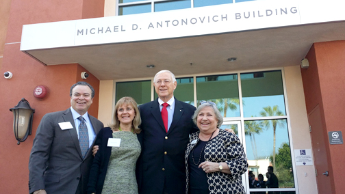 Photo by Ginny SIMPSON Civic leaders (from left) Jose and Monica Sierra with Supervisor Michael Antonovich and Las Candelas president Jeannie Flint.
