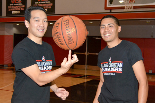 Photos by Dan HOLM Justin Tagawa (left) and Jon Sampang have found success coaching Village Christian after spending their childhoods in the Crescenta Valley Falcons program.