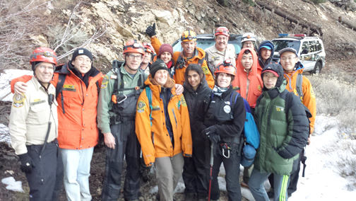 Photos courtesy of MSR A hiking club from UCLA was full of happy faces after Montrose Search and Rescue team members led them out of the forest in icy, wet weather.