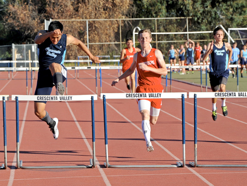 Kenny Kang had a strong win in the 300 intermediate hurdles (40.70).