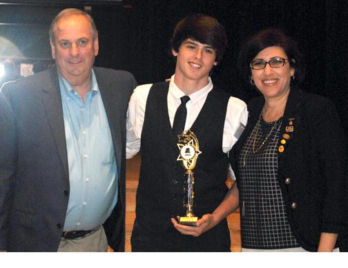 Reflections winner, state level, Austin Borusiewicz, with Principal Doug Dall and Assistant Principal Lena Kortoshian.