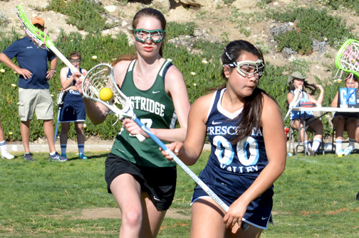 Samara Yarnes scored three goals in CV's victory over Westridge on March 12. It was the first ever home game for Falcon lacrosse.