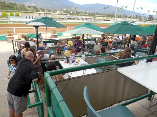 Photo courtesy of Rick DINGER Supporters of the 7th Annual Crescenta Valley Day at the Races filled the Top of the Stretch at Santa Anita Race Track.