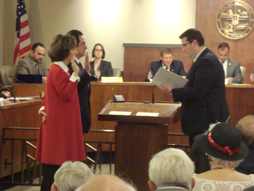 "Photo by Jason KUROSU Glendale City Clerk Ardashes ""Ardy"" Kassakhian swears in Glendale City Council members Paula Devine and Vartan Gharpetian."