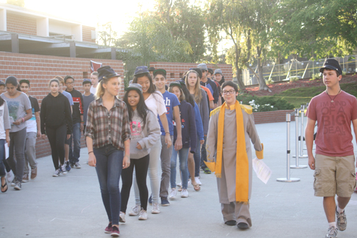 Rosemont students were taught to march in traditional Union and Conferderate style