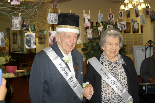 Photos by Mary O'KEEFE Newly crowned prom king and queen Nick and Lillie Medvid shared with the crowd how they met more than 64 years ago.