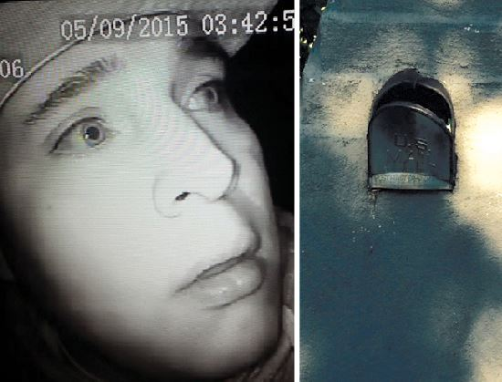 Photo on left was captured from surveillance footage of a man suspected of burglarizing a pickup truck stealing over $10,000 worth of tools. At right is a broken mailbox in La Crescenta, an easy target for mail theft.
