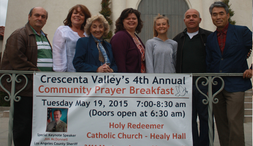 Photo by Mary O'KEEFE Crescenta Valley Annual Community Prayer Breakfast committee members invite the public to the morning event. This is the fourth annual prayer breakfast. The keynote speaker is LASD Sheriff Jim McDonnell.