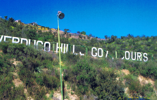 Photos provided by Paul LINDSEY Prior to the dedicated effort by a team of local Verdugo Hills Golf Course supporters, the landmark sign at the top of the golf course was dilapidated and literally falling apart.