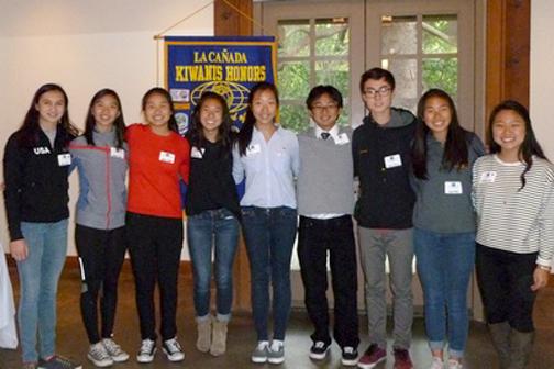 Photo contributed by Melinda THOMPSON From left are Key Club members Emily Carr, Selina Pan, Jenny Wang, Kelly Hsu, Jennifer Yoon, Russell Uyemura, Alex Zhao, Joyce Noh and Sofia Kim.