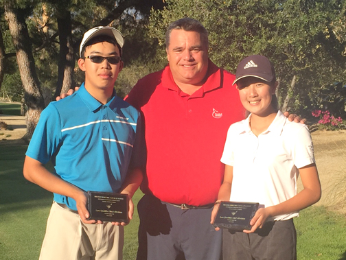 Pictured are Mason Chiu, Rick Dinger and Caitlyn Yamashita.